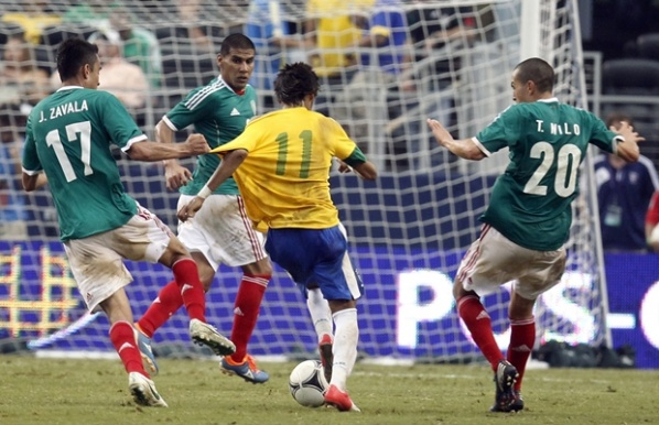 Mexico landed Brazil in front of about 85,000 spectators in the USA