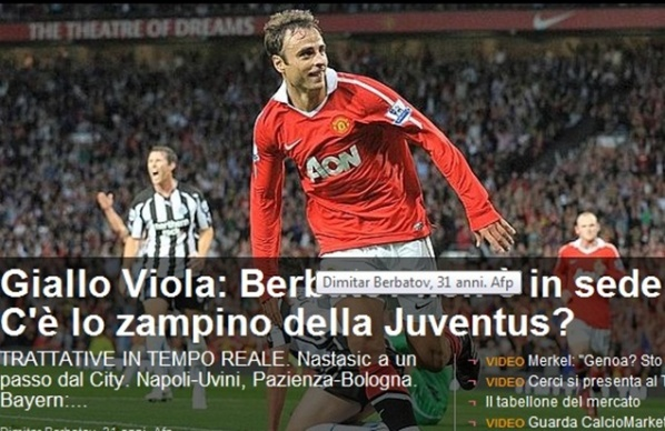 In Italy: Berbatov dribble Fiorentina with Juventus