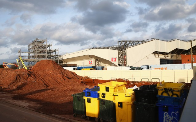 High winds delayed a major part of the redevelopment of Anfield